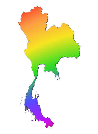 Thailand map filled with rainbow gradient. Mercator projection. photo