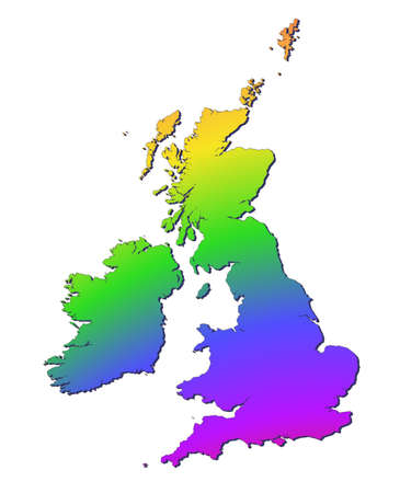 british isles: United Kingdom map filled with rainbow gradient. Mercator projection. Stock Photo