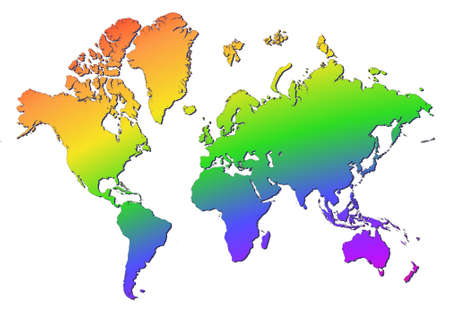 World map filled with rainbow gradient. Mercator projection. photo