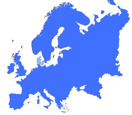 selected: Denmark location in Europe map. Mercator Projection. Stock Photo