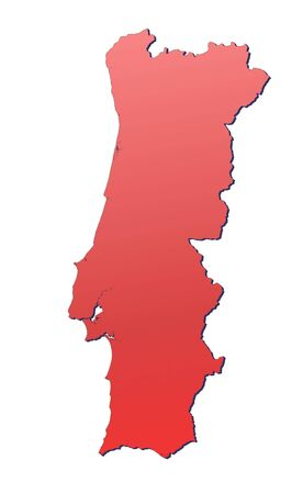Portugal map filled with red gradient. Mercator projection. photo
