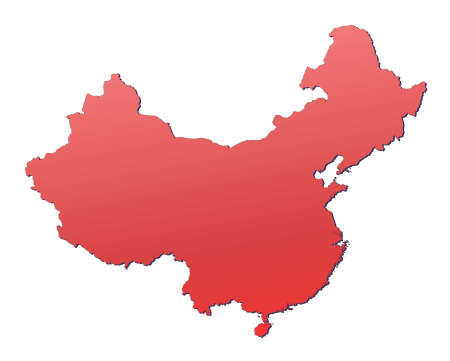 China map filled with red gradient. Mercator projection. photo