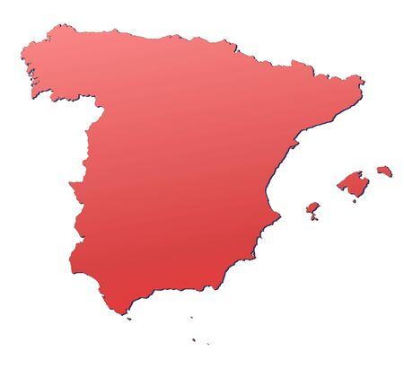 spain map: Spain map filled with red gradient. Mercator projection. Stock Photo