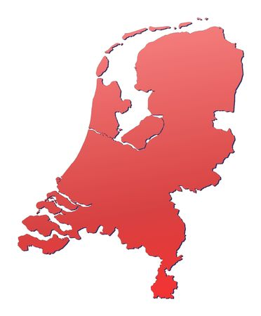 shading: Netherlands map filled with red gradient. Mercator projection.