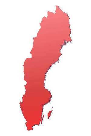 sweden map: Sweden map filled with red gradient. Mercator projection. Stock Photo