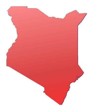 Kenya map filled with red gradient. Mercator projection. photo