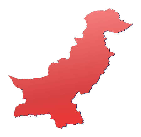 shading: Pakistan map filled with red gradient. Mercator projection.
