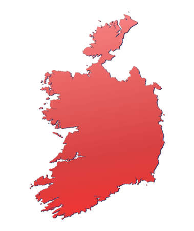 Ireland map filled with red gradient. Mercator projection. photo