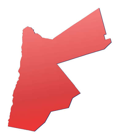 rouge: Jordan map filled with red gradient. Mercator projection. Stock Photo