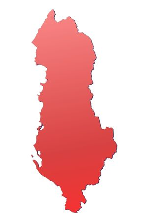 albania: Albania map filled with red gradient. Mercator projection.