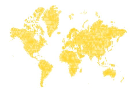 Abstract yellow world map. Made from triangles. photo