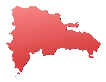 shading: Dominican Republic map filled with red gradient. Mercator projection.