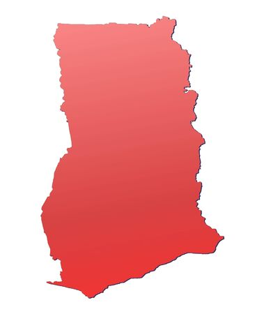 shading: Ghana map filled with red gradient. Mercator projection.