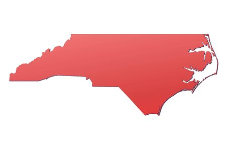 carolina: North Carolina (USA) map filled with red gradient. Mercator projection. Stock Photo