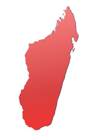 shading: Madagascar map filled with red gradient. Mercator projection. Stock Photo