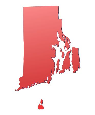 Rhode Island (USA) map filled with red gradient. Mercator projection. photo