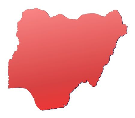 rouge: Nigeria map filled with red gradient. Mercator projection.