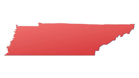 rouge: Tennessee (USA) map filled with red gradient. Mercator projection.