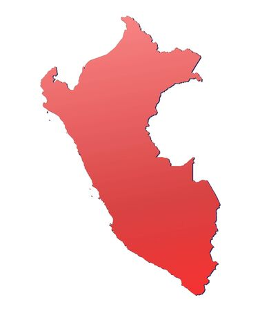 peru map: Peru map filled with red gradient. Mercator projection.