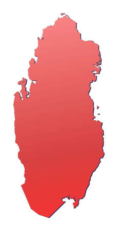 shading: Qatar map filled with red gradient. Mercator projection.