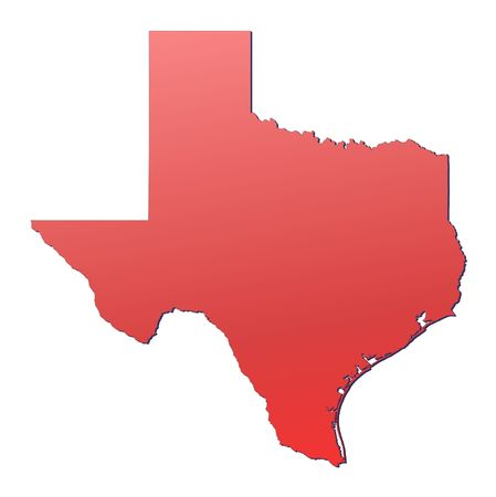 outline red: Texas (USA) map filled with red gradient. Mercator projection.