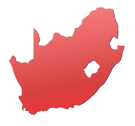 rouge: South Africa map filled with red gradient. Mercator projection.