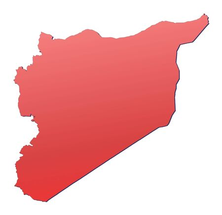 syria: Syria map filled with red gradient. Mercator projection. Stock Photo