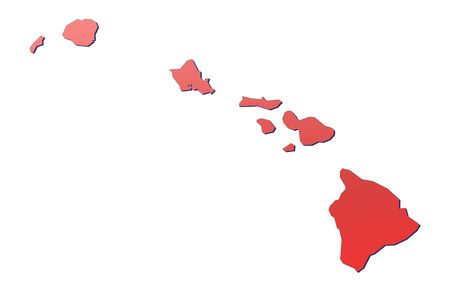 Hawai map filled with red gradient. Mercator projection.