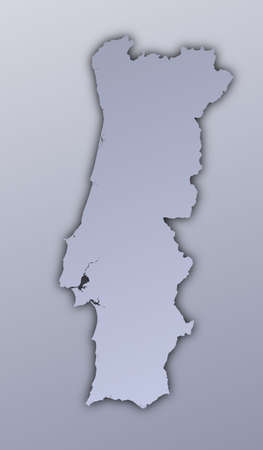 Portugal map filled with metallic gradient. Mercator projection. Stock Photo - 2998761