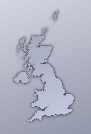United Kingdom map filled with metallic gradient. Mercator projection. photo