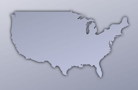 filled: United States map filled with metallic gradient. Mercator projection.