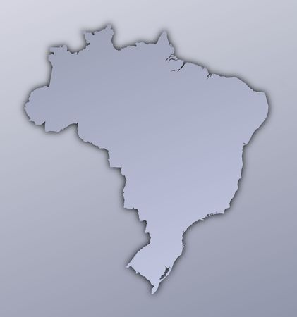 Brazil map filled with metallic gradient. Mercator projection. Stock Photo - 2998762