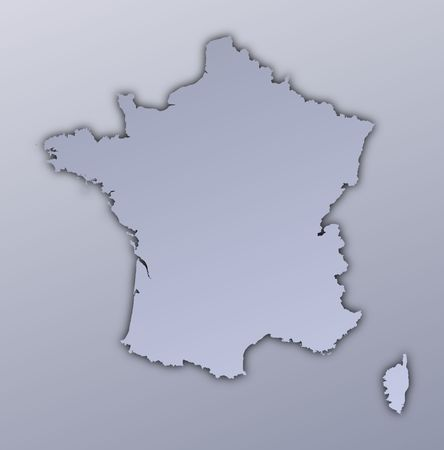 France map filled with metallic gradient. Mercator projection. Stock Photo - 2998775