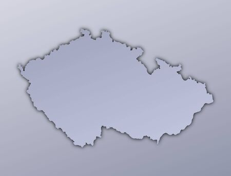 Czech Republic map filled with metallic gradient. Mercator projection. Stock Photo - 2998781