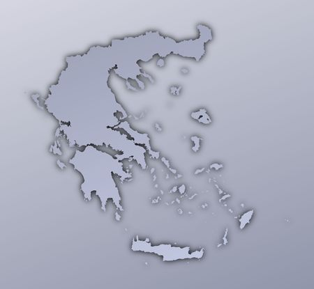 Greece map filled with metallic gradient. Mercator projection. Stock Photo - 3008743