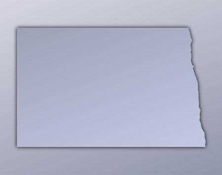 North Dakota (USA) map filled with metallic gradient. Mercator projection. Stock Photo - 3083663