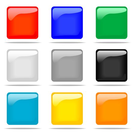 Set of glossy square buttons in nine different colors. photo
