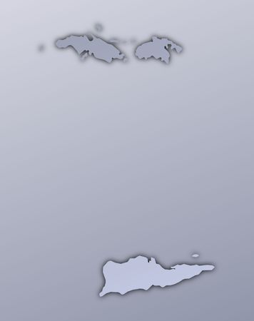 shading: Virgin Islands map filled with metallic gradient. Mercator projection.