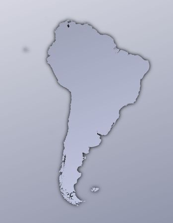 shading: South America map filled with metallic gradient. Mercator projection. Stock Photo