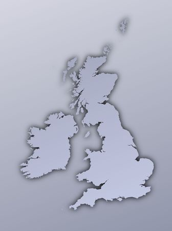 british isles: United Kingdom map filled with metallic gradient. Mercator projection.