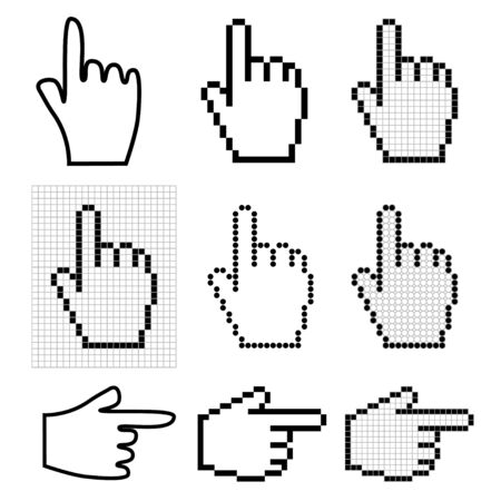 Set of 9 hand mouse cursors photo