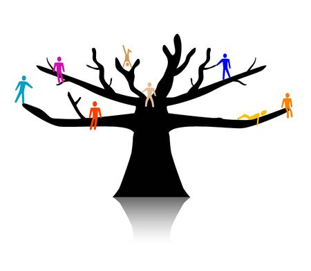 People in treetop. Simple and clean social conceptual illustration. Stock Photo