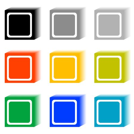 Set of cube buttons in nine different colors. photo