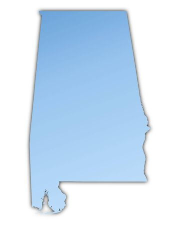 shading: Alabama(USA) map light blue map with shadow. High resolution. Mercator projection. Stock Photo