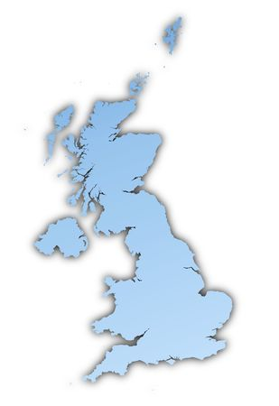 british isles: United Kingdom map light blue map with shadow. High resolution. Mercator projection.