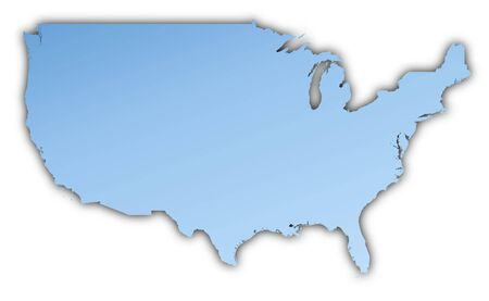 shading: United States map light blue map with shadow. High resolution. Mercator projection. Stock Photo