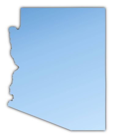 Arizona(USA) map light blue map with shadow. High resolution. Mercator projection.