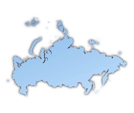 skyblue: Russia map light blue map with shadow. High resolution. Mercator projection. Stock Photo