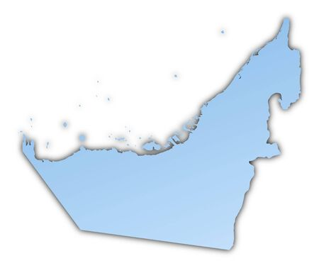 skyblue: United Arab Emirates map light blue map with shadow. High resolution. Mercator projection.