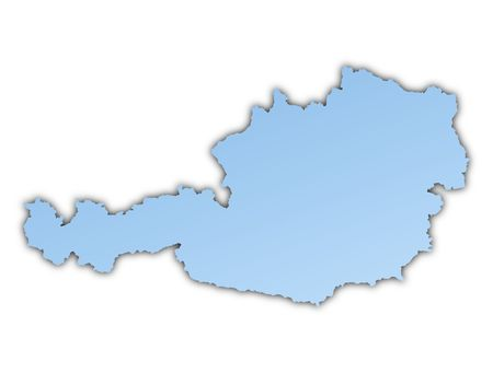 shading: Austria map light blue map with shadow. High resolution. Mercator projection. Stock Photo